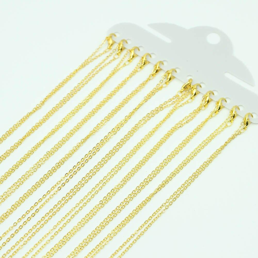 12 unidades/pacote 40cm ouro metal curb chain com lagosta fecho ajuste feminino pingente correntes para diy jóias descobertas fazendo