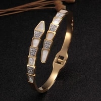 luxury snake shell weeding party charm bangles for women girls jewelry gift trendy brand open cuff crystal bangles