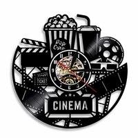 Film Horloge Murale Cinema Disque Vinyle Horloge Murale A Piles Pop-Corn Coke Pour Film Amant Cadeau Decor A La Maison MUR LED Lampe