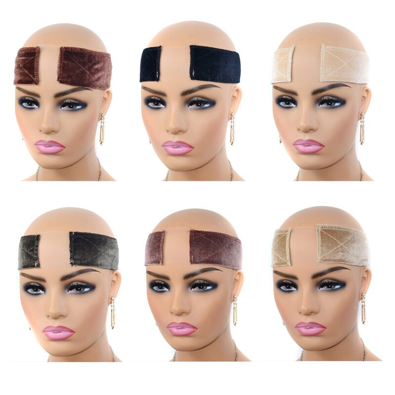 Hot New 2 Models And 6 Colors Velvet Comfort Wig Band Fashion Adjustable Velcro Fastener Grip Headband For For Anti-slip wigs