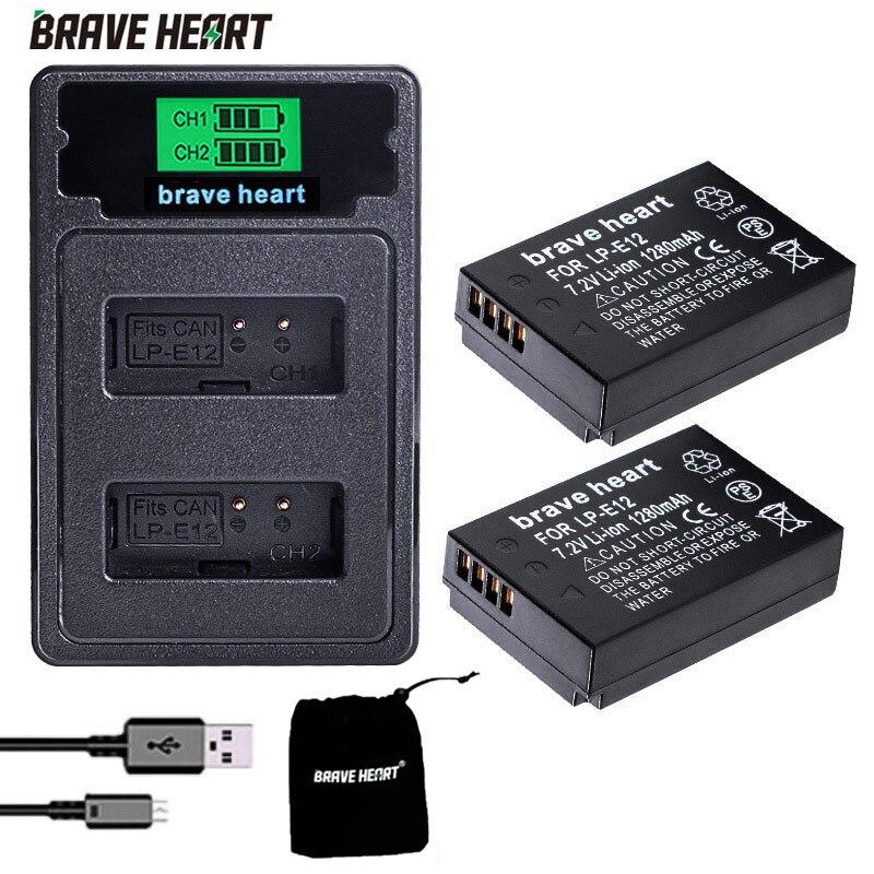 2x LP-E12 lpe12 lp e12 bateria da câmera bateria akku + duplo tipo-c carregador para canon m 100d beijo x7 rebel sl1 eos m10 dslr