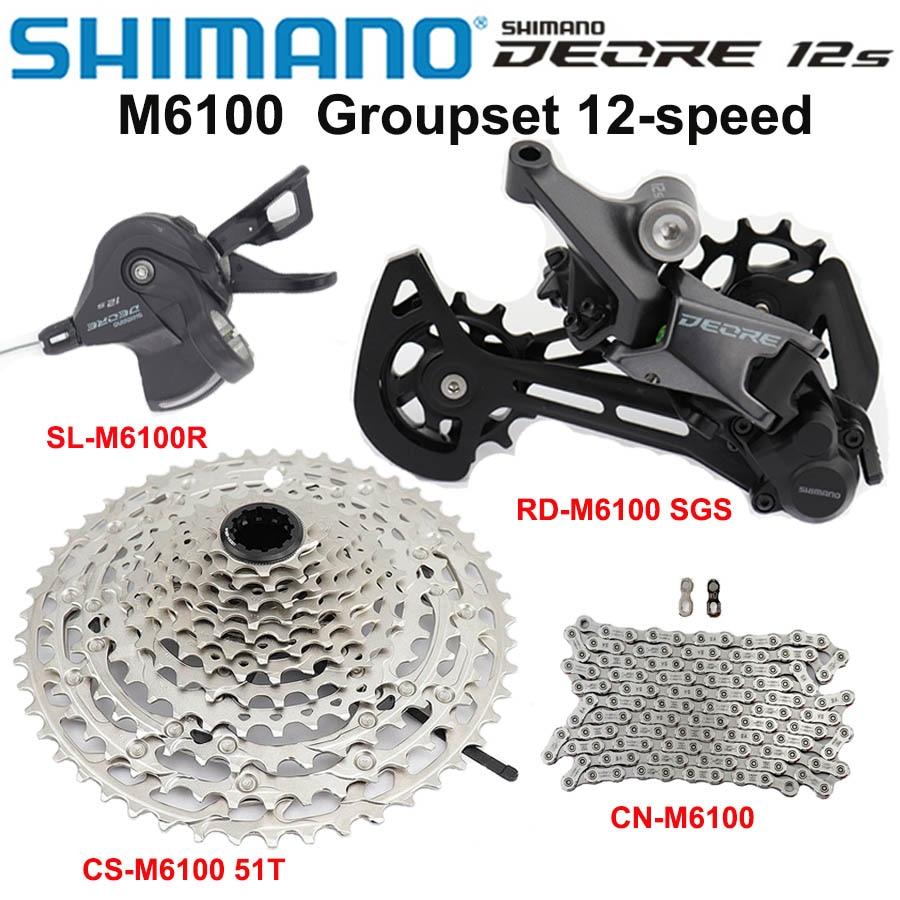 SHIMANO DEORE-مجموعة كاسيت الدراجة الجبلية ، 12s ، M6100 ، Derailleur الخلفي SGS ، 10-51T ، سلسلة M6100 ، جديد