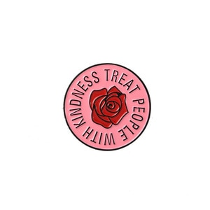 fashion pink rose flower badge pin enamel brooch for women girls trendy treat people with kindness brooch for collars clothes