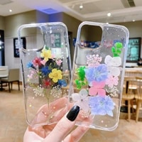 new luxury glitter real dried flower phone case for iphone 11 12 pro max x 7 8 plus xr xs max transparent back cover funda shell