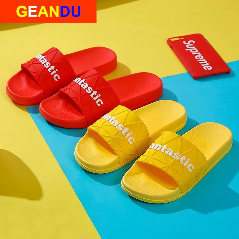 Chanclas de moda de verano para mujer, chanclas sencillas para el hogar, chanclas para interiores, zapatillas antideslizantes, zapatos de mujer