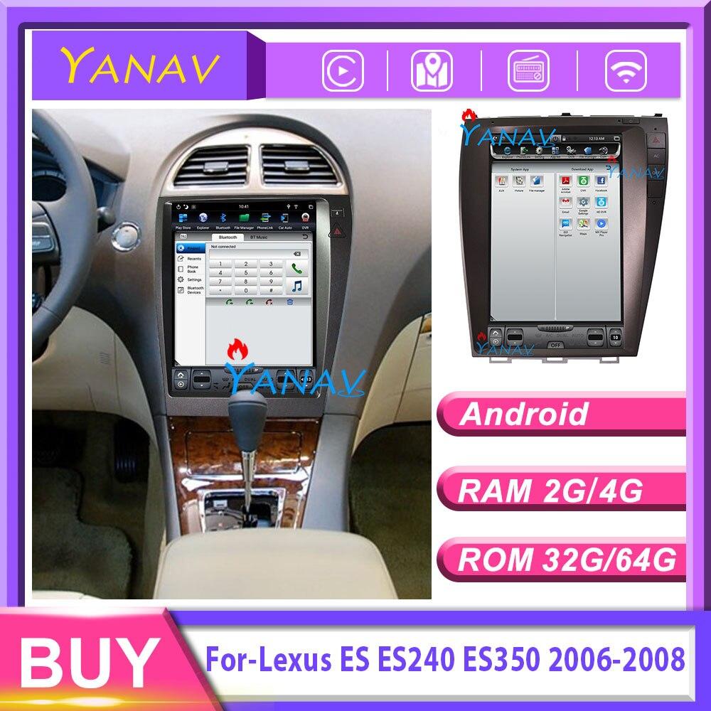 Radio de coche reproductor multimedia DVD 12,1 Tesla pantalla vertical para-Lexus ES ES240 ES350 2006-2008 GPS para coche estéreo de navegación
