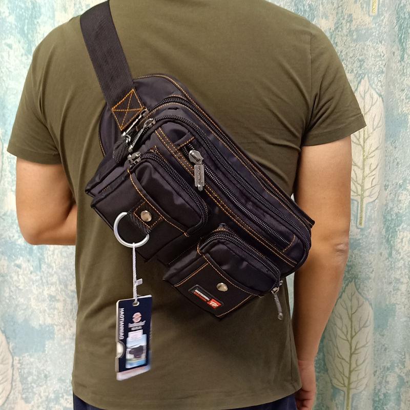 Riñonera informal para hombre, bolsa impermeable para el pecho, riñonera de gran capacidad, bolsa para teléfono multifunción Oxford, nueva
