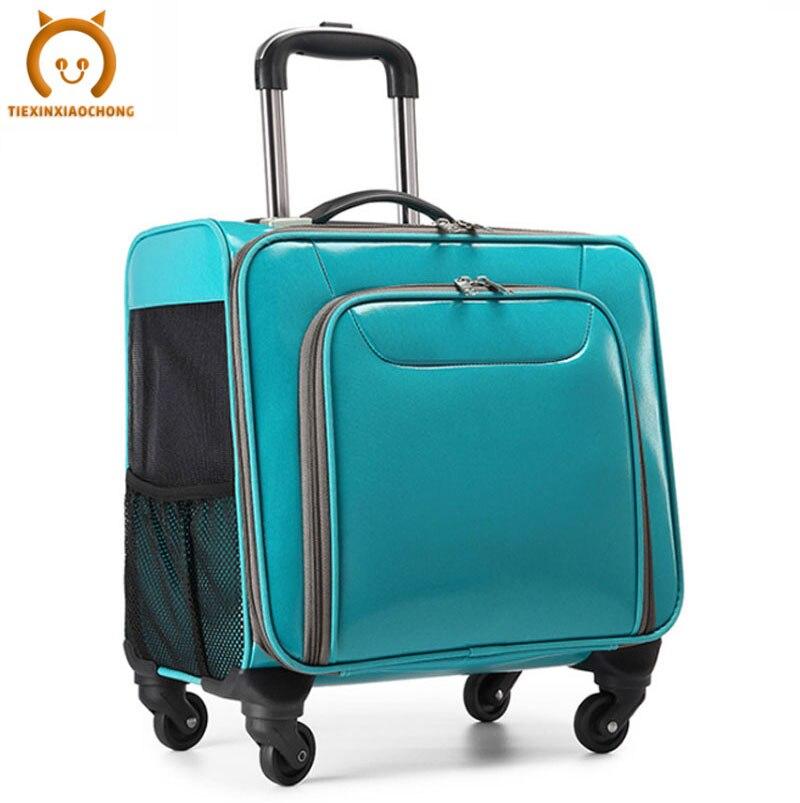Cat Carrier Bag Pet Dog Handbag Breathable Portable Big Cat Bag Trolley Case Outdoor Transporter Carrying Mesh Double Backpack