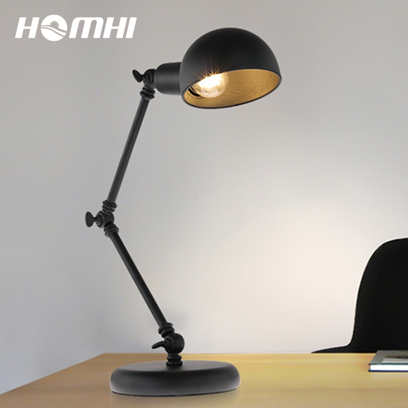 Lâmpadas para sala de estar mesa topo rústico fazenda lâmpada de mesa flexo escritorio led arte deco escritório do vintage preto metal industrial