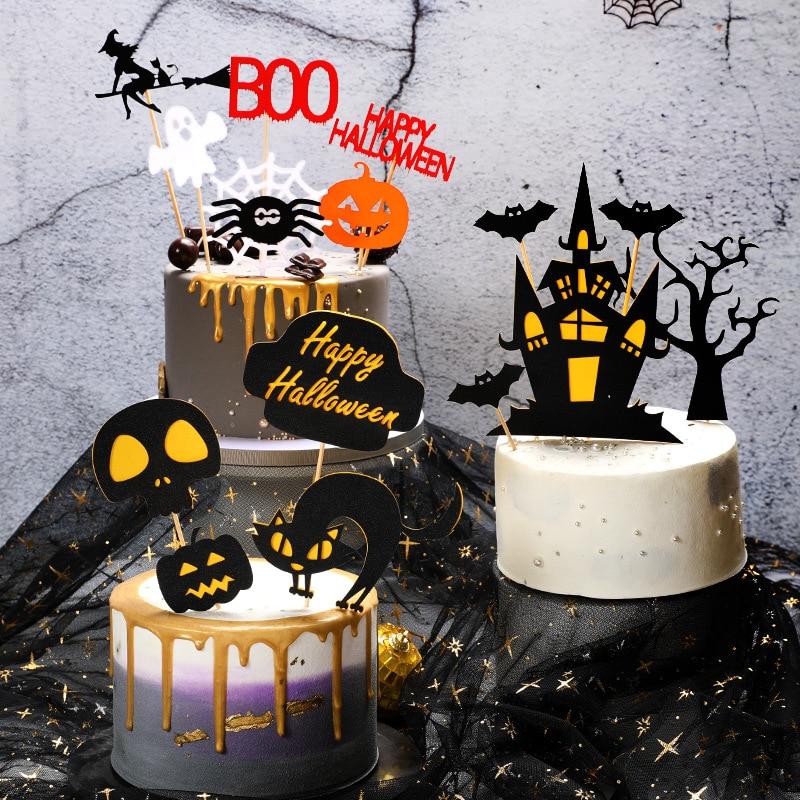 Halloween Cake Decoration Card Black Castle Batman Flag Pumpkin Witch Cake Dessert Topper Decoration Birthday Party Supplies