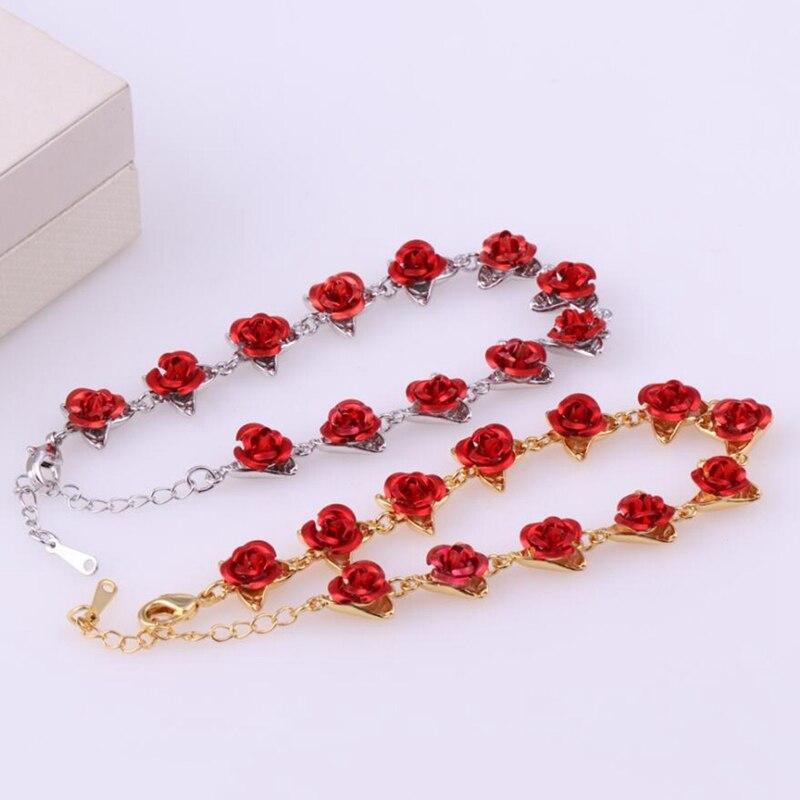 Romântico rosa flor pulseira festa dama de honra encantador jóias presentes do dia das mães para meninas femininas