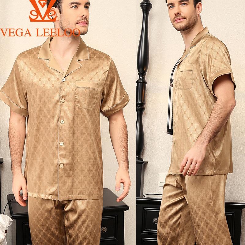 100% 25 +Шелк мужские Две части пижамы короткие рукава короткие брюки тонкие летние мужские роскошные пижамы комплект
