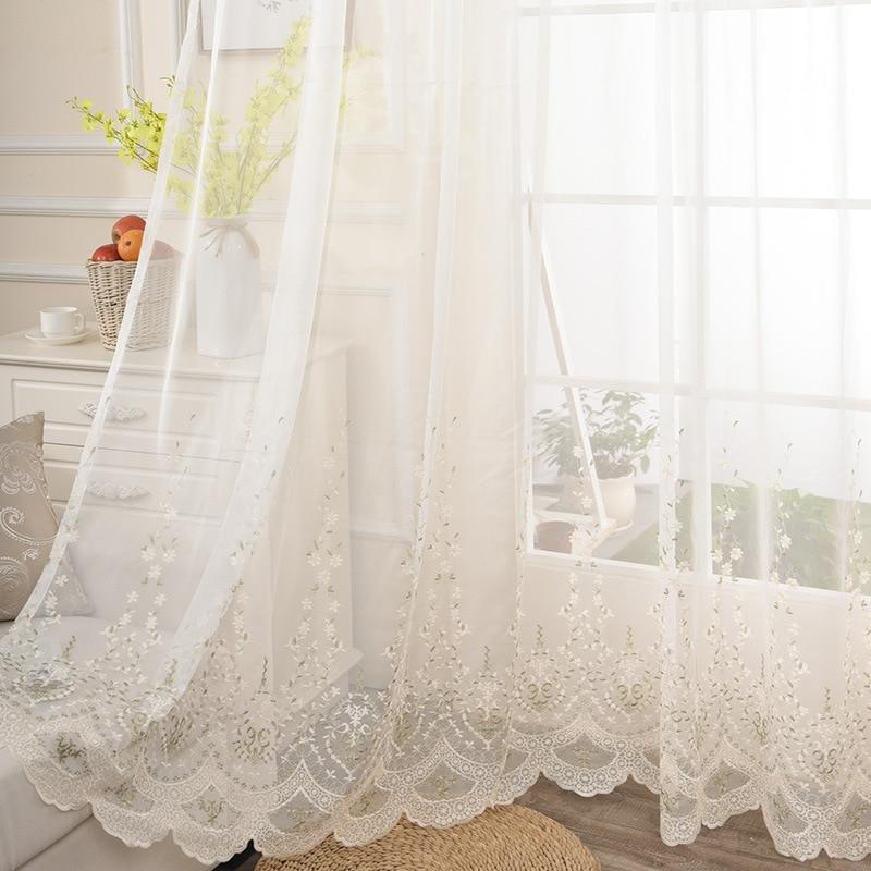 Cortina transparente bordada de flores para sala de estar, cortina de ventana francesa elegante Pastoral romántica lateral de onda de encaje, Tende JS178C