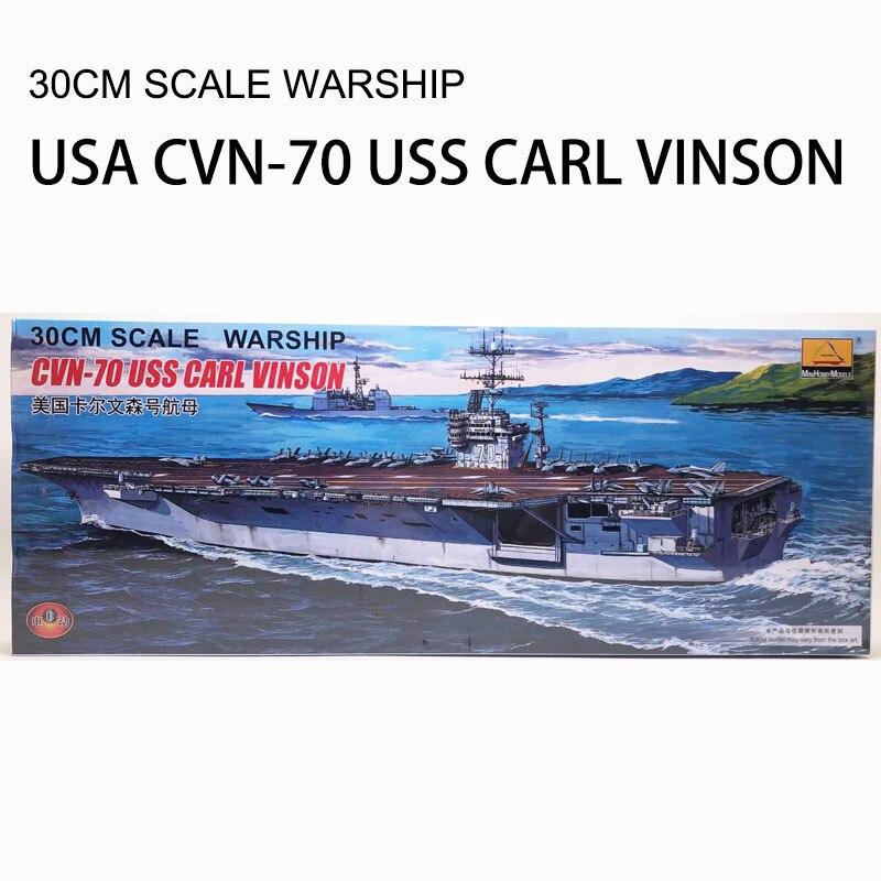CVN-70 30 CENTÍMETROS navio de Guerra USS CARL VINSON Aviões Modelo de Montagem de Plástico Brinquedo Elétrico XC80905