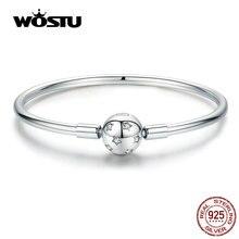 WOSTU Funkelnde Sterne Armbänder 100% 925 Sterling Silber Zirkon Runde Charme Armbänder Armreif Für Frauen Silber 925 Schmuck CQB144