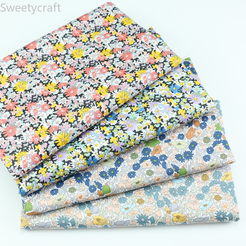 100% Cotton Small Flower Prints Twill Fabric For Quilting Kids Patchwork Cloth DIY Sewing Bedding Fat Quarters Material For Baby