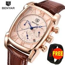 BENYAR New Fashion Mens Watches Top Brand Luxury Big Dial Military Quartz Watch Leather Waterproof Sport Chronograph Watch Men