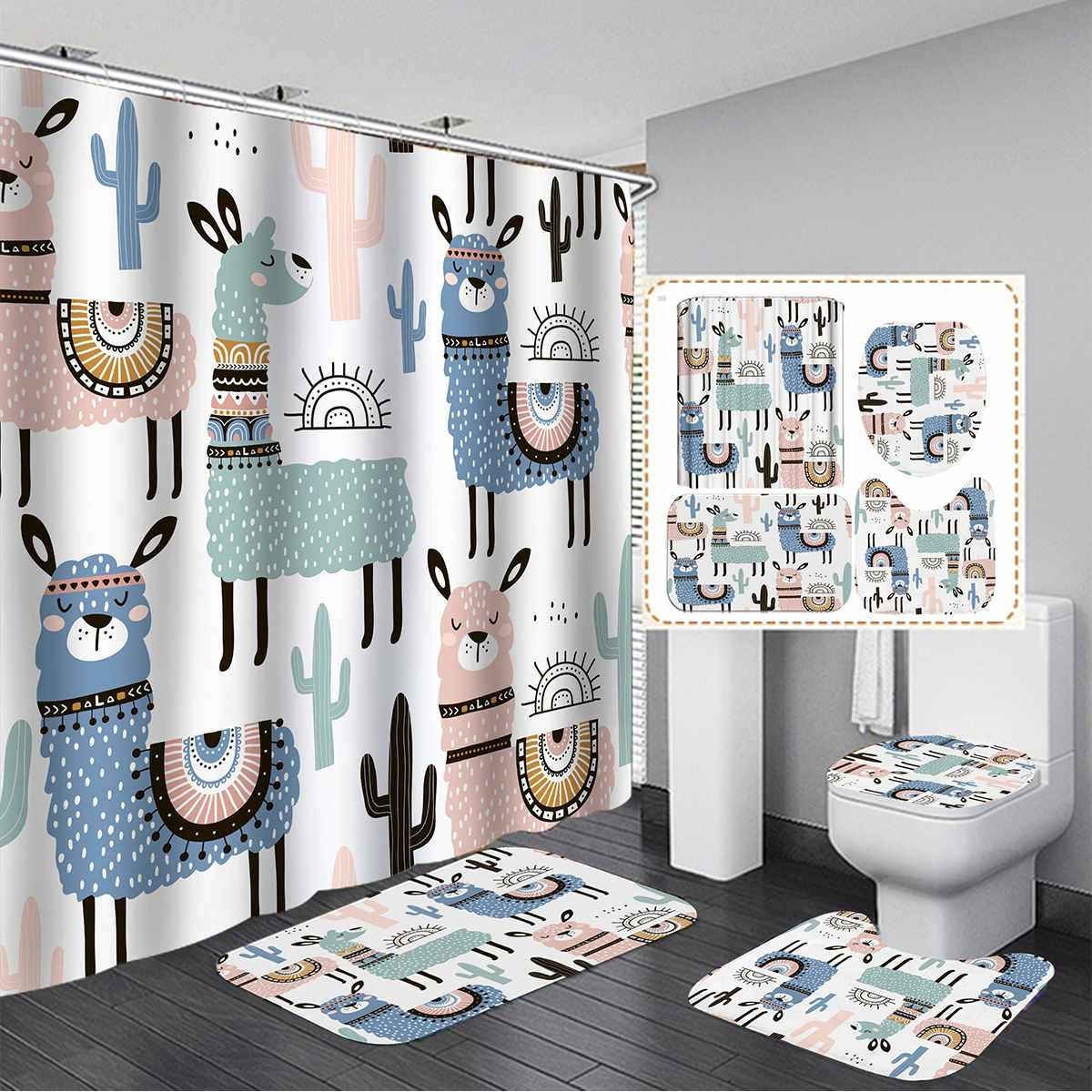 Dibujo de Alpaca Animal cortina para bañera o ducha 3 uds conjuntos de alfombrilla de baño antideslizante alfombra de baño cubierta de inodoro cocina alfombra decoración de baño