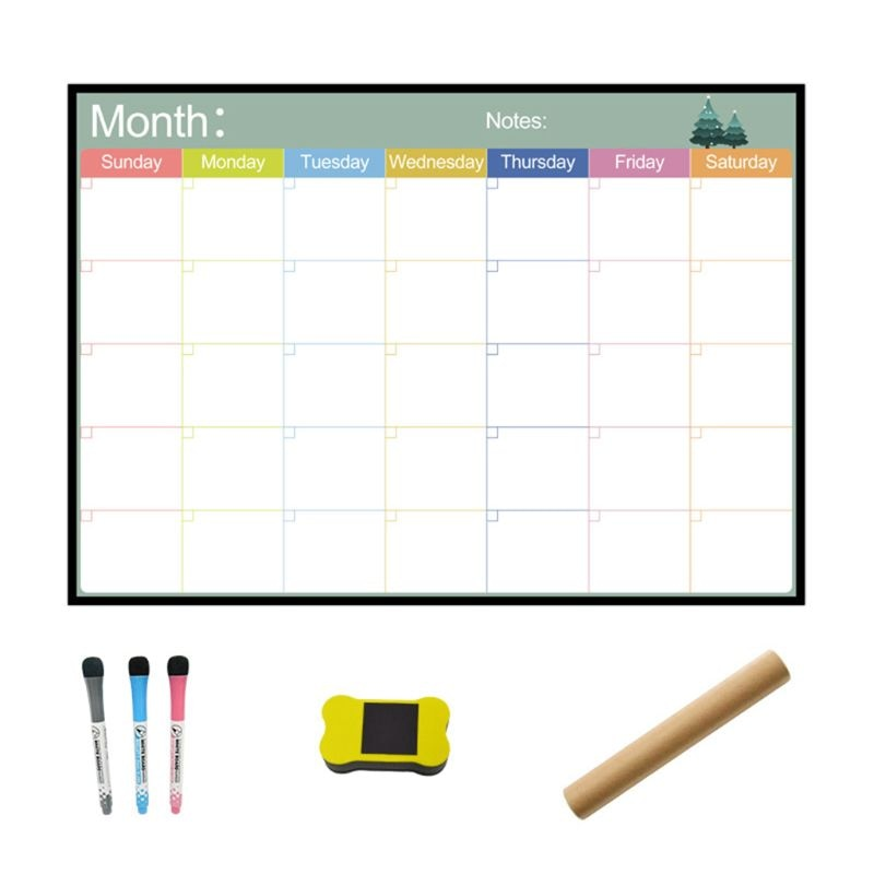 A3 Magnetic Monthly Planner Whiteboard Fridge Magnet Flexible Weekly Message Drawing Refrigerator Bulletin