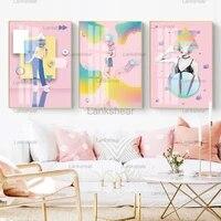 Affiches en toile imprimees pour filles  jolies et douces  roses  peintures murales  images pour decoration de la maison