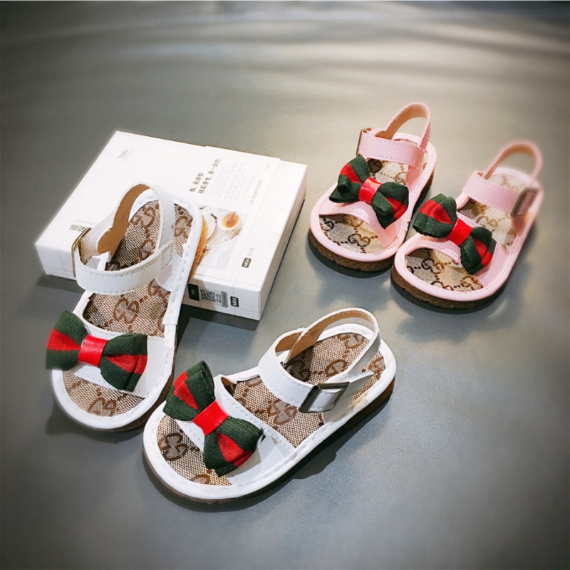 New Girls' Sandals Baby Soft-soled Beach Slippers Butterfly Kont Anti-Slip Ctton Flats Ifant Casual