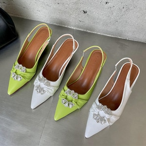 Ladies Fashion Thin Low Heel Sandals Pointed Toe Slingback Sandals For Women Party Shoes Slip On Mule Shoes Female Pumps Shoe