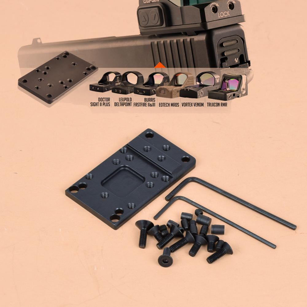 Universal Vista de punto rojo Glock vista trasera placa de montaje de Base accesorios para pistola para veneno de víbora RMR Vism etc.
