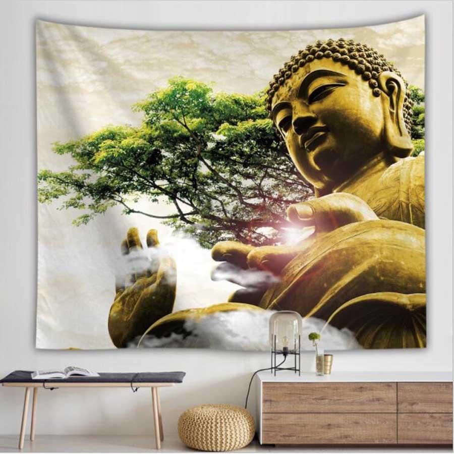 WOSTAR религиозная культура гобелен настенная индийская статуя Будды для дома настенный художественный Декор Мандала psychedelic гобелен