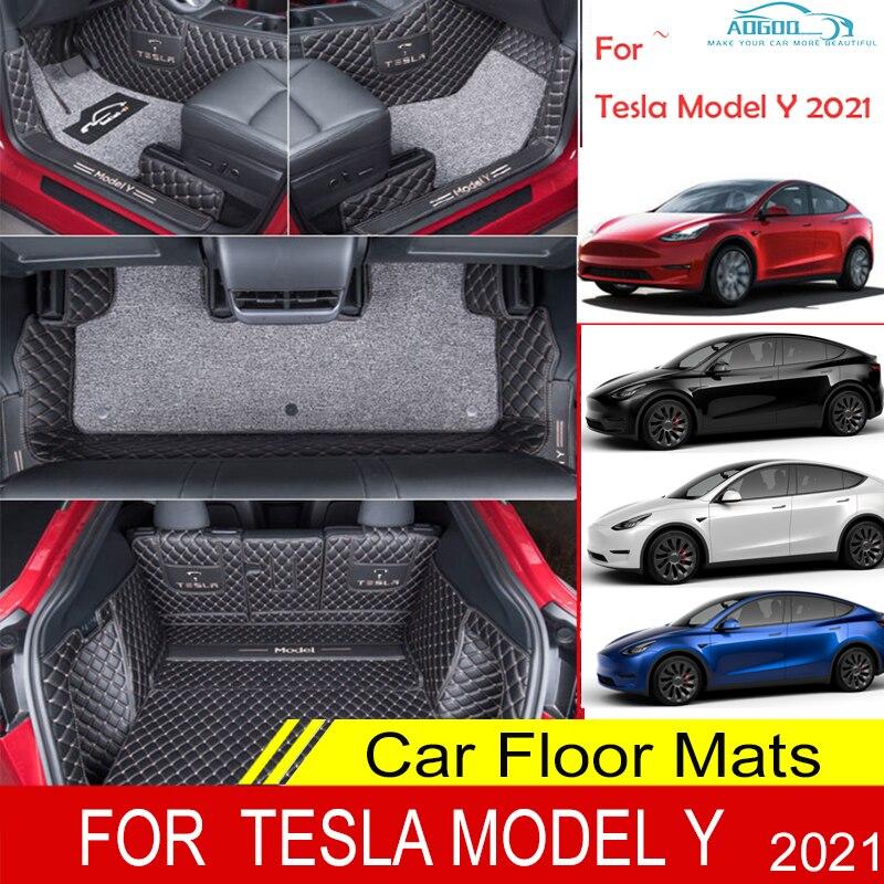 Автомобильные коврики для Tesla модели Y 2021 двойной Слои изготовленные на заказ автоматические подушечки автомобильный коврик крышка интерье...