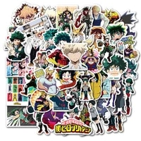 50pcs my hero academia anime stickers midoriya izuku bakugou katsuki for diy laptop luggage ps4 helmet car toy gift sticker