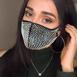 Sparkly Rhinestone Mask Face Decor Jewelry Elastic Reusable Washable Fashion Jewelry Masks Face Bandana Party Gift