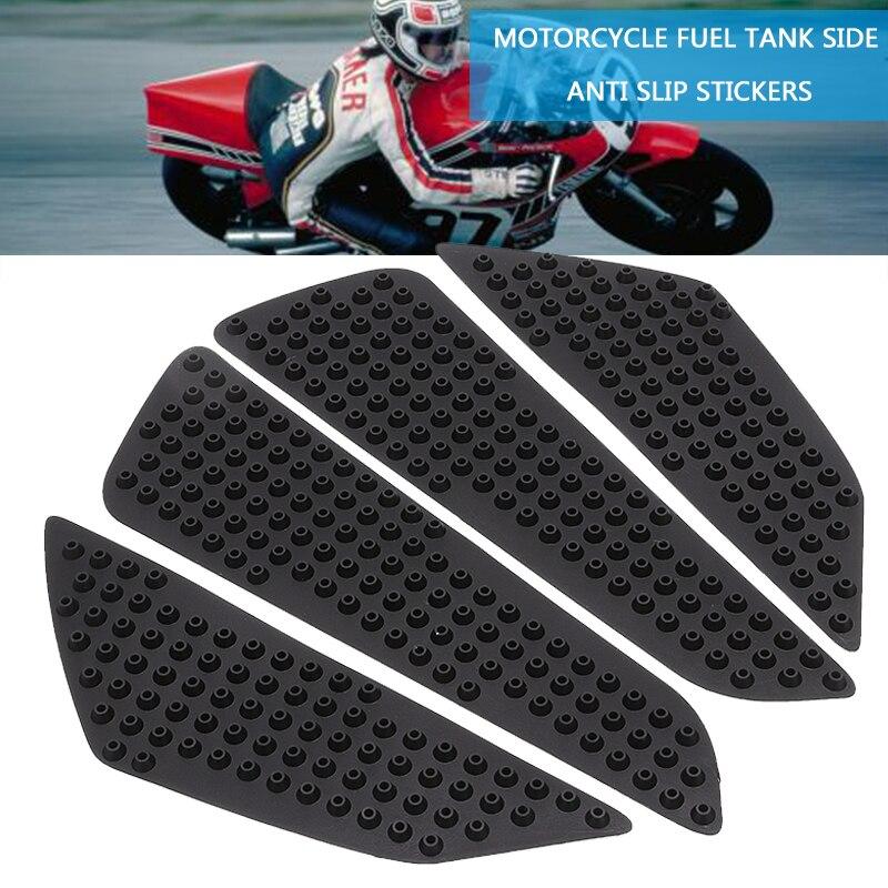4pcs Black Rubber Motorcycle Tank Side Knee Grip Traction Pad Protectors For Honda Kawasaki Yamaha DIY Parts