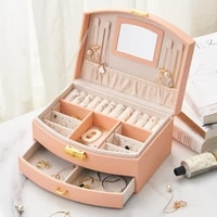 large capacity storage jewelry box double layer lock storage box multifunctional jewelry storage pearl box jewelry display