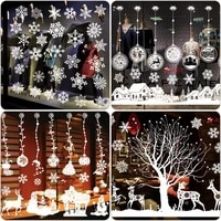 christmas white glass window stickers glue electrostatic stickers window glass decoration stickers pinup picture home decor
