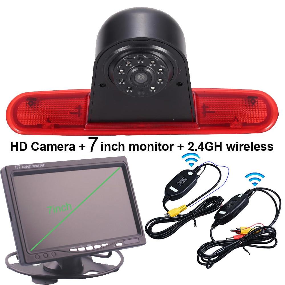 7 дюймовый монитор + 2,4G Беспроводной тормозной светильник, зеркало заднего вида для парковки автомобиля камера обратного хода для Fiat DOBLO 263 ...