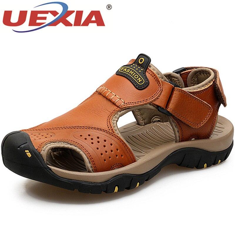 UEXIA, zapatos para hombre, sandalias de cuero para hombre, sandalias de playa para caballero con gancho y bucle, sandalias informales de moda para hombres, zapatillas para exteriores