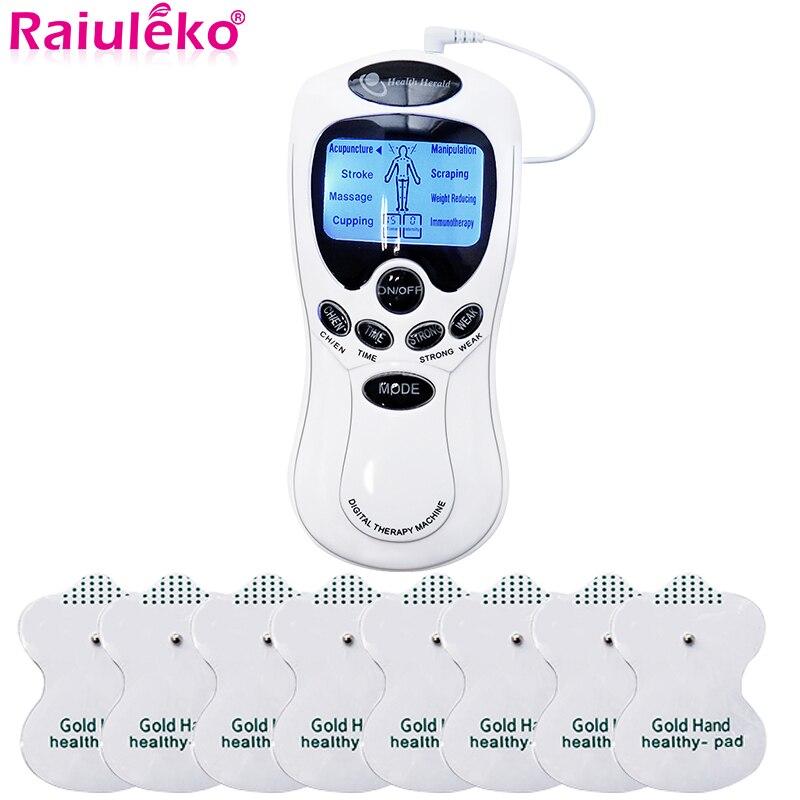 Estimulador eléctrico Tens relajante masajeador muscular ENTRADA Dual terapia de acupuntura de pulso EMS cuerpo completo Relax masaje cuidado de la salud