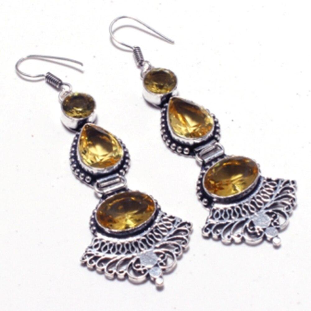 Genuino citrino de plata superpuesta en los pendientes de cobre, hecho a mano mujer joyería regalo, E5425
