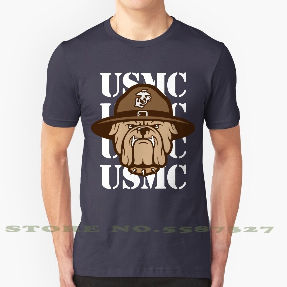 Ejército estadounidense Usmc Cuerpo de Marines Bulldog Semper Fi negro blanco camiseta para hombres mujeres Usmc Cuerpo de Marines Bulldog