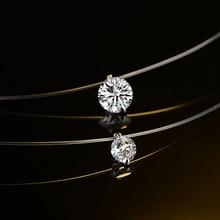 Summer 925 Silver Choker Invisible Fish Line Crystal Necklace Pendants Neck Zircon Women Clavicle Chain Lady Feminino Collar