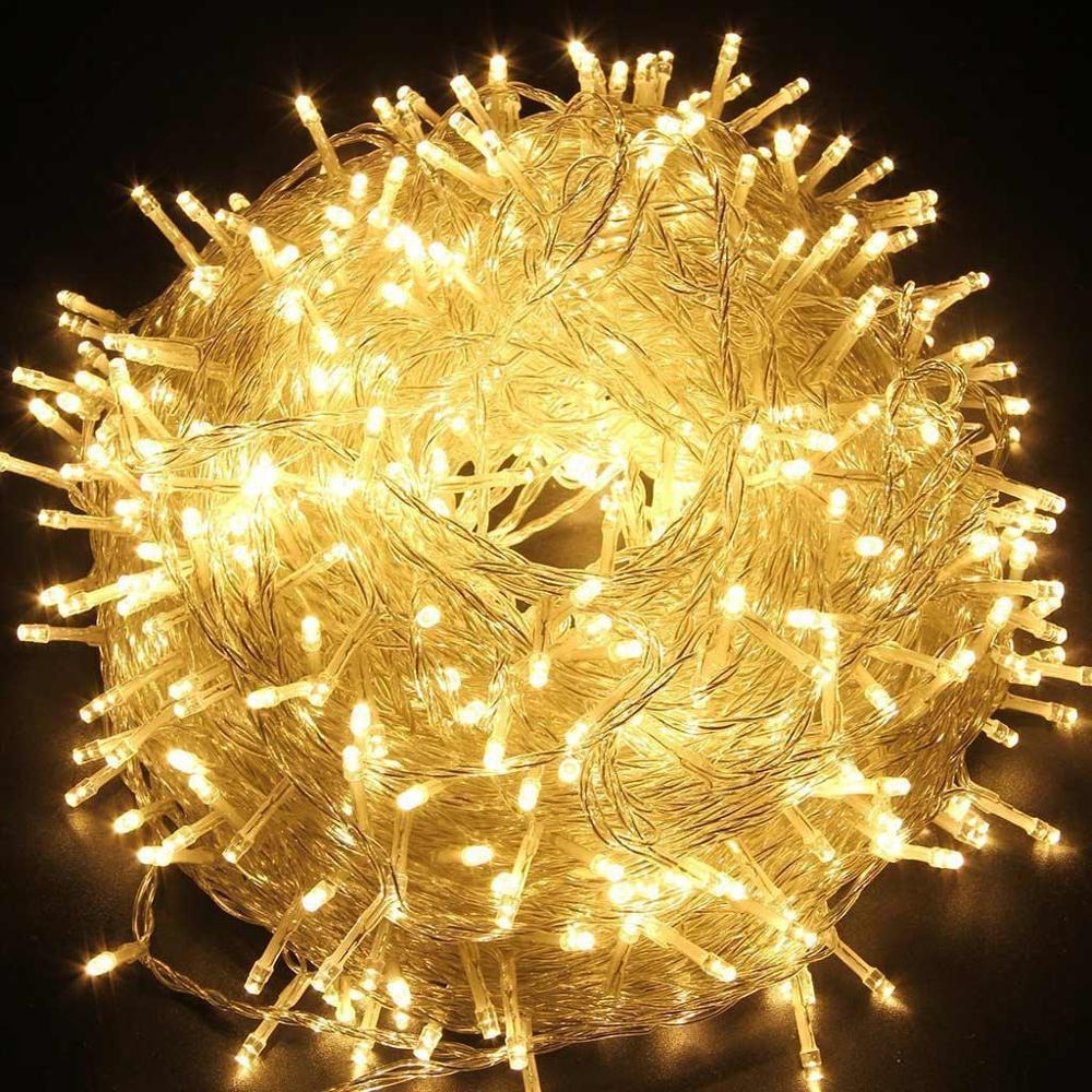 إكليل إضاءة خارجي LED ، 10 م ، 20 م ، 30 م ، 50 م ، 100 م ، لحفلات الزفاف ، شجرة الكريسماس ، رأس السنة الجديدة ، مصباح العطلة ، 220 فولت