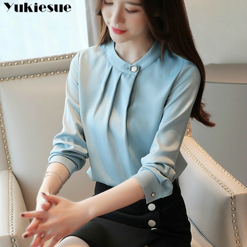 fashion womens tops and blouses stand collar office blouse women chiffon blouse shirt female long sl
