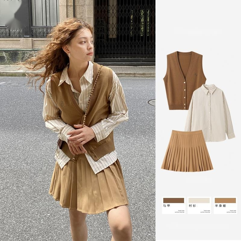 Sweater Vest Women Suit College Style Suit Girl Knitted Vest Cardigan Striped Shirt Pleated Skirt Tw