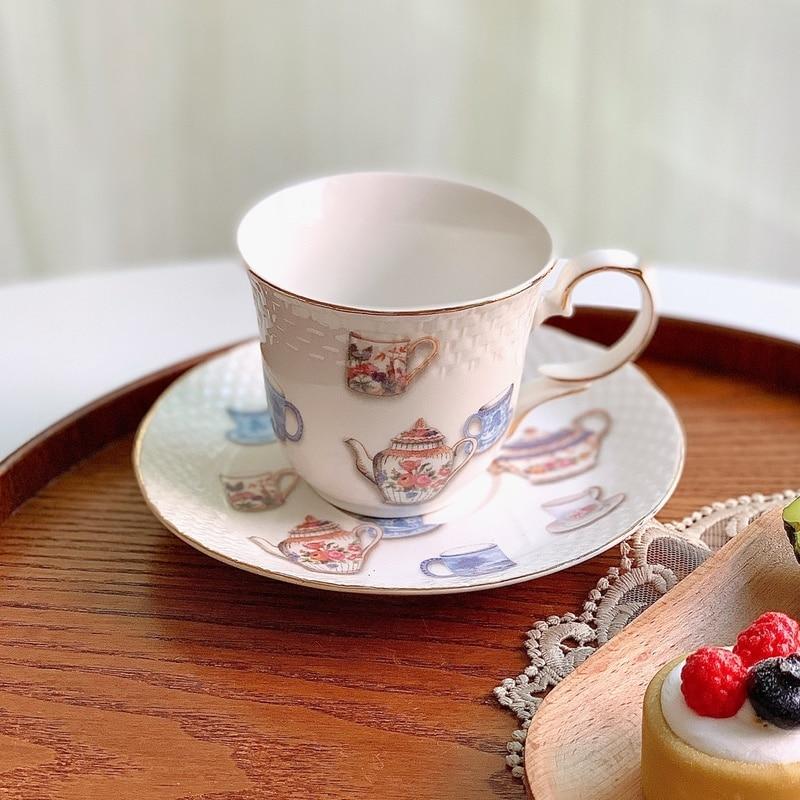 الرجعية إبريق الشاي أكواب القهوة الطباعة صديقة للبيئة مجموعة من أكواب القهوة والصحون الإنجليزية بعد الظهر Xicara كوب سيراميك EF50BD
