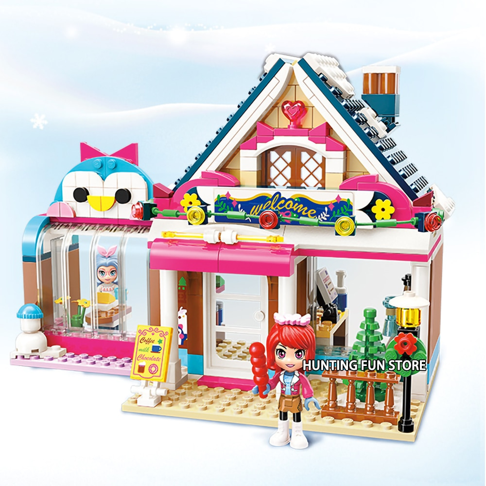 Serie de amigos Sweetly restaurante de casa de madera con 2 figuras Juguetes de bloques de construcción para niñas Qman 2025