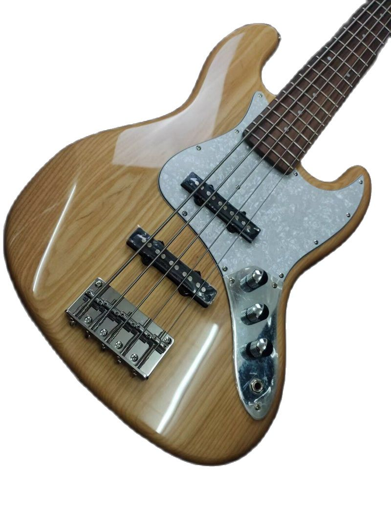 Solid Ashwood Body 5 String Electric Bass Guitar High Gloss 43 Inch Natural Color Bass Guitar with Canada Maple Neck enlarge
