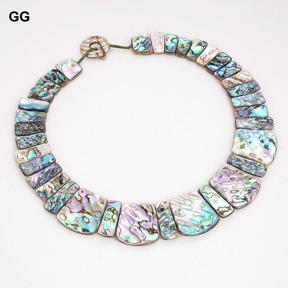 جواجواي مجوهرات 19 ''اليدوية الطبيعية باوا أذن البحر قلادة من الصدف الكلاسيكية للنساء