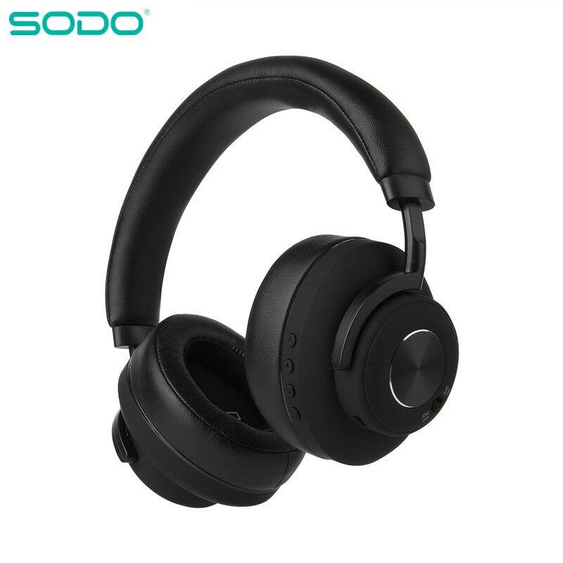 SODO SD-900ANC سماعة رأس بخاصية البلوتوث نشط الضوضاء إلغاء اللاسلكية و السلكية سماعة مزودة بميكروفون سماعة ايفي الصوت سماعة