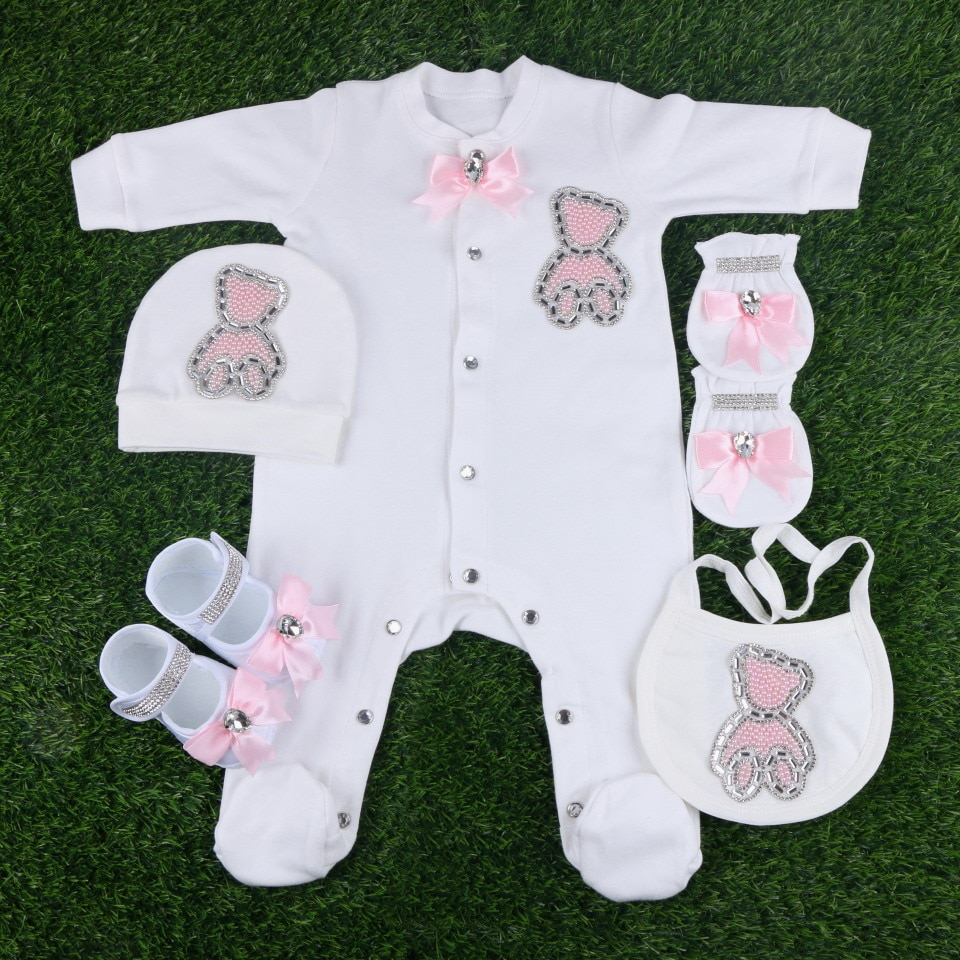 hot wholesale handmade pink bead cartoon bear pattern with bow knot 5 pcs newborn boy girl baby footies rompers bodysuits sets