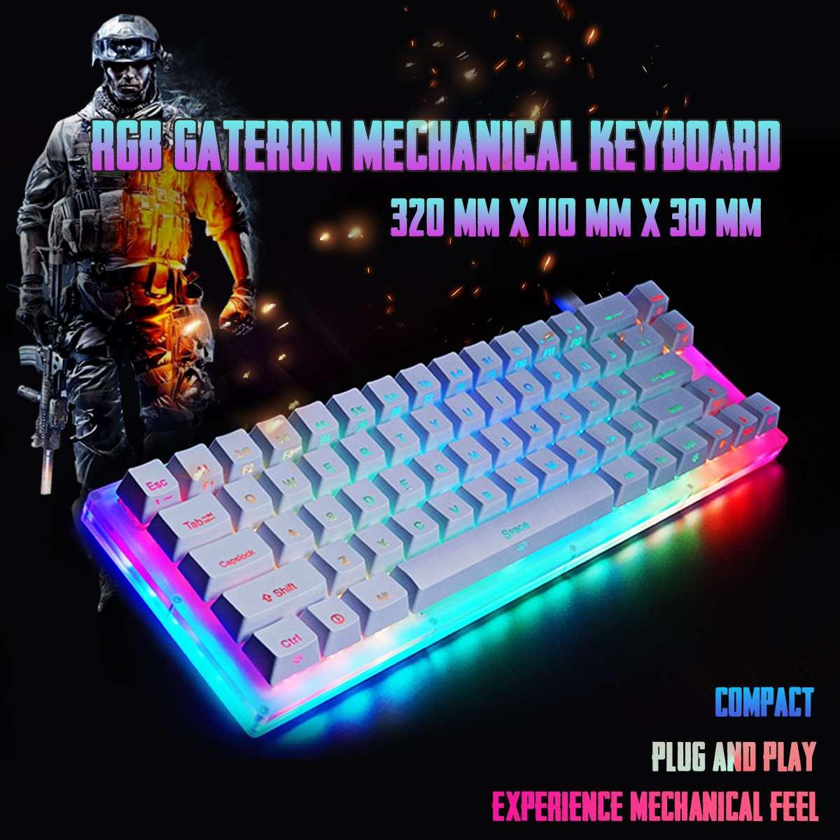 K66 Teclado mecánico esmaltado Gateron colorido 40Gbps tipo C 66 teclas 16,8 millones de teclado basado en RGB cristalino
